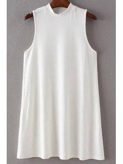 Solid Color Stand Collar Sleeveless Mini Dress - White L