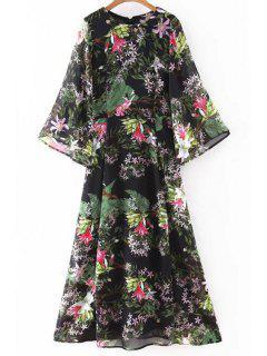 Bell Sleeve Floral Print Breezy Dress - Black L