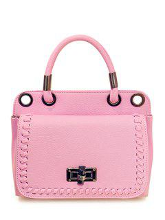 Weaving Hasp Solid Color Tote Bag - Light Pink
