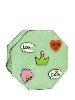 Chain Cartoon Pattern PU Leather Crossbody Bag - Green