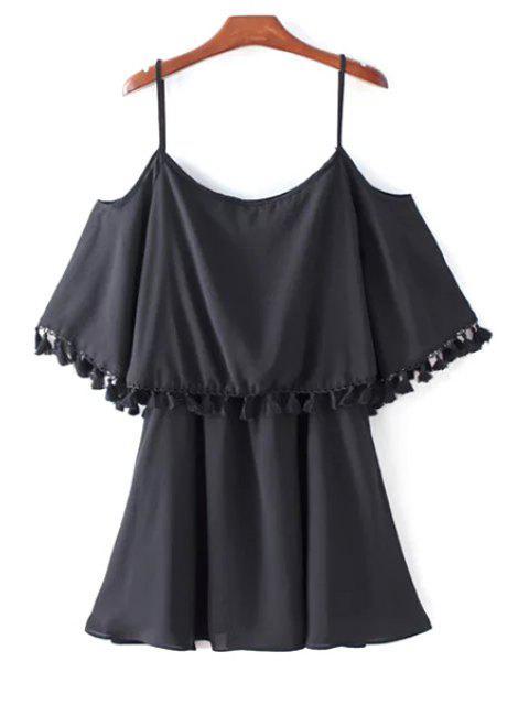 Tassel Cold Shoulder Popover Slip Dress - Noir L Mobile