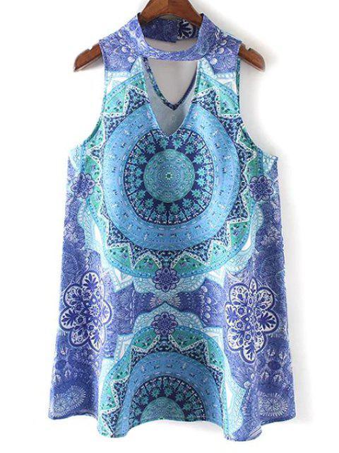 Retro Printed Stehen Ausschnitt ärmelloses Kleid - Blau L Mobile