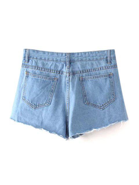 affordable Bleach Wash Cutoffs Denim Shorts - LIGHT BLUE L Mobile