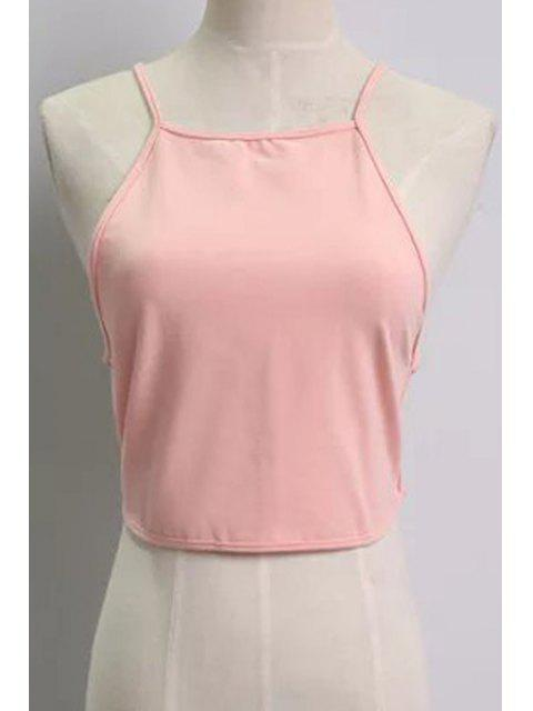 ladies Solid Color Backless Spaghetti Straps Tank Top - PINK ONE SIZE(FIT SIZE XS TO M) Mobile