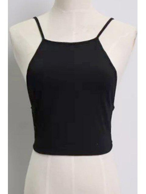 womens Solid Color Backless Spaghetti Straps Tank Top - BLACK ONE SIZE(FIT SIZE XS TO M) Mobile