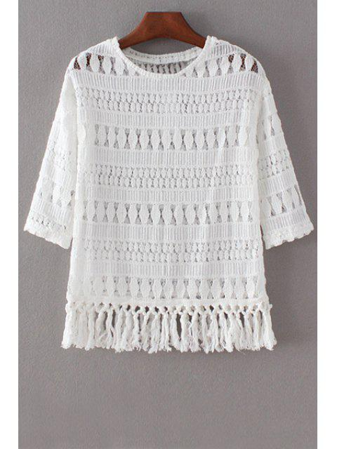 buy Hollow Out Round Collar 3/4 Sleeve Lace T-Shirt - WHITE S Mobile