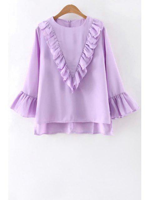 fancy Ruffles Spliced Round Collar Flare Sleeve Blouse - PURPLE L Mobile