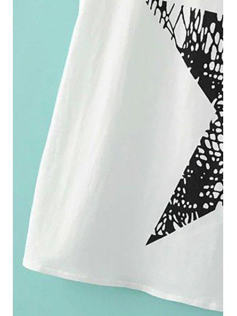 shop Pentagram Print Scoop Neck Tank Top - BLACK L Mobile