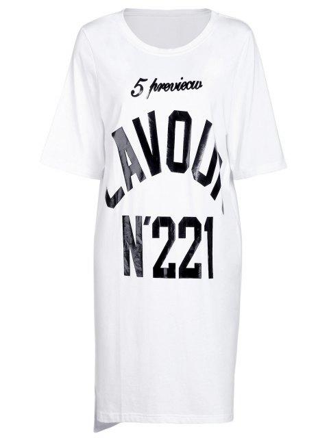 T-shirt Nombre Imprimer col rond manches courtes - Blanc Taille Unique(S'adap Mobile