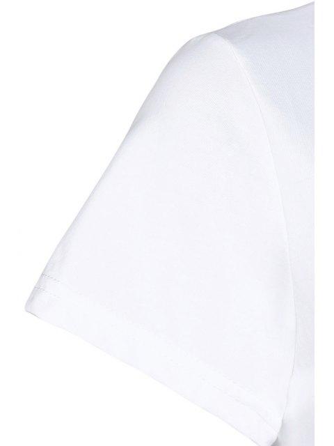 T-shirt imprimé plumes col rond manches courtes - Blanc Taille Unique(S'adap Mobile