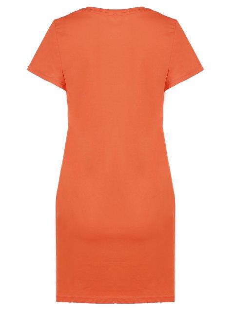 T-shirt imprimé plumes col rond manches courtes - Orange Taille Unique(S'adap Mobile
