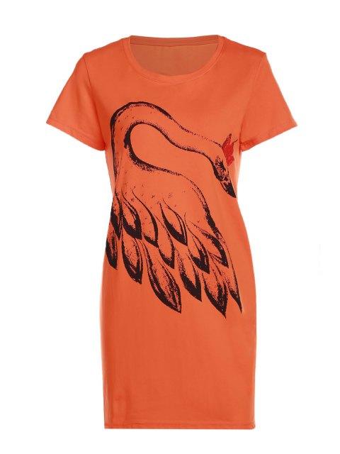 Feder-Druck-Rundhalsausschnitt kurzen Ärmeln T-Shirt - orange  Einheitsgröße(Geeign Mobile