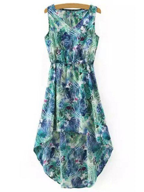 online Hawaiian Leaf Print High-Low V Neck Sleeveless Dress - GREEN L Mobile