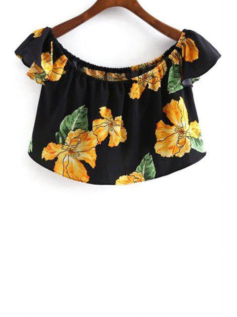 Impresión floral de la blusa con cuello redondo recortada - Negro L Mobile