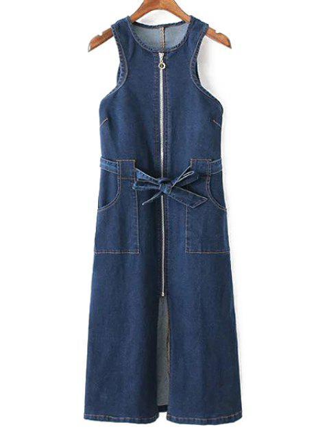 Bolsillos con cremallera cuello redondo sin mangas vestido de dril de algodón - Marina de Guerra L Mobile