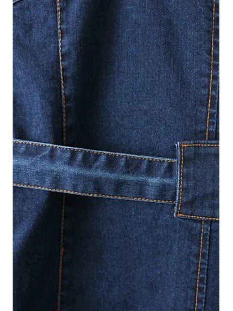 outfit Pockets Zippered Round Neck Sleeveless Denim Dress - DEEP BLUE M Mobile