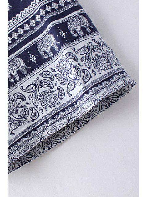 shop Elephant Print High Waist Wide Leg Pant - PURPLISH BLUE S Mobile