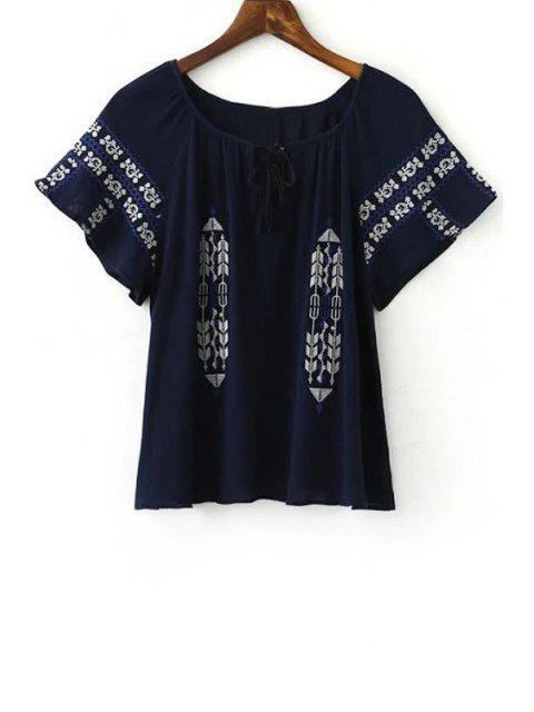 Retro-Stickerei mit rundem Halsausschnitt Kurzarm T-Shirt - Kadettenblau L Mobile
