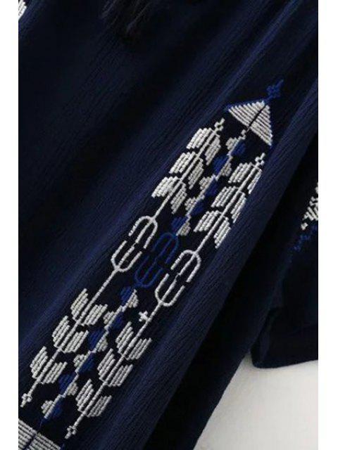 Retro broderie Scoop cou à manches courtes T-shirt - Bleu Cadette L Mobile