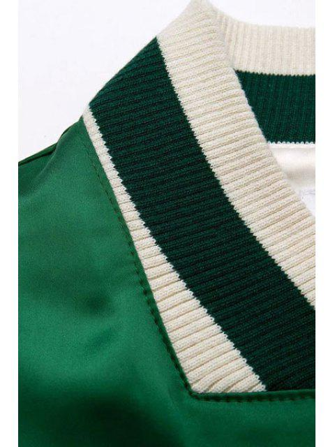 ladies Embroidered Green Baseball Jacket - GREEN M Mobile