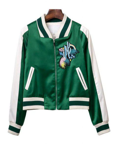 women's Embroidered Green Baseball Jacket - GREEN S Mobile