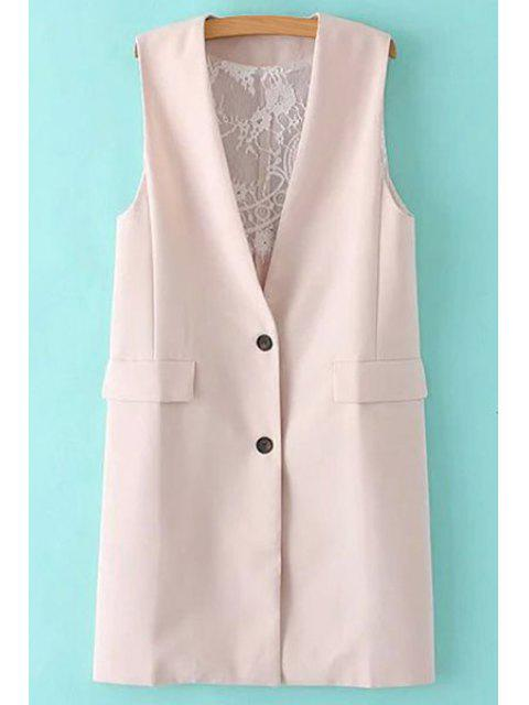hot Solid Color Lace Spliced Collarless Waistcoat - SHALLOW PINK S Mobile