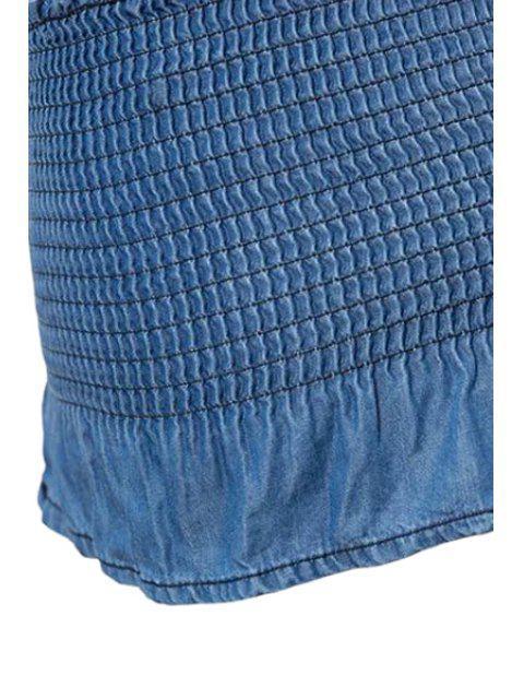 women Fitted Solid Color Halter Denim Tank Top - BLUE S Mobile