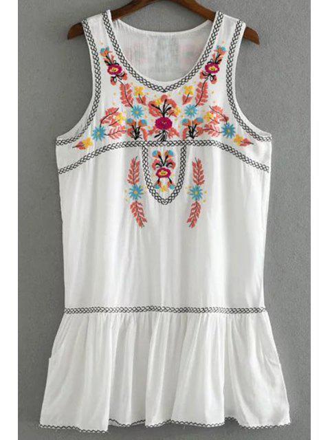 new Emrboidered Ruffle Hem Tank Dress - WHITE S Mobile