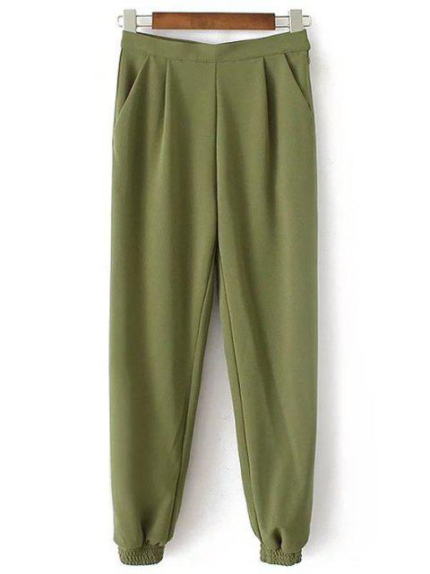 fancy Solid Color Jogger Pants - ARMY GREEN L Mobile