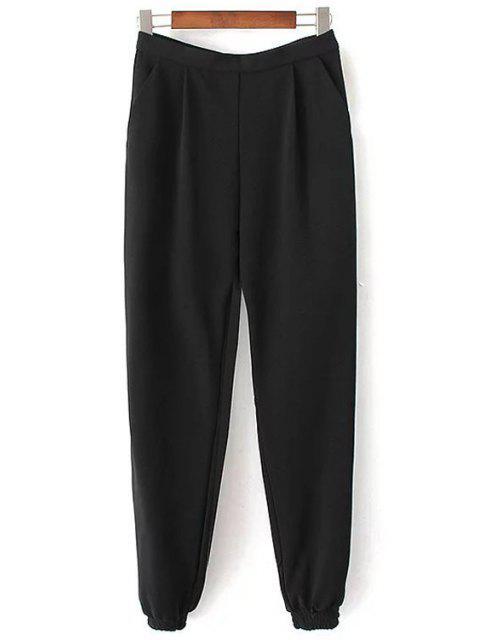 Solide Pantalon Couleur Jogger - Noir M Mobile