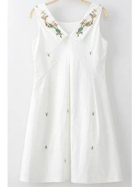 chic Embroidery Round Collar Sleeveless Dress - WHITE L Mobile
