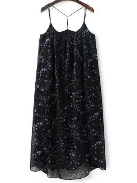 fashion High Slit Spaghetti Straps Star Print Dress - BLACK L Mobile