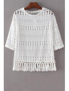 Hollow Out Round Collar 3/4 Sleeve Lace T-Shirt - White M