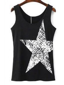 Buy Pentagram Print Scoop Neck Tank Top - BLACK L
