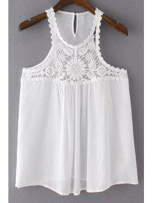 Buy Solid Color Lace Splicing Round Neck Tank Top - WHITE S
