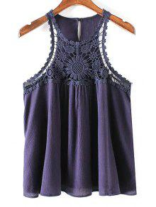 Buy Solid Color Lace Splicing Round Neck Tank Top - PURPLISH BLUE S