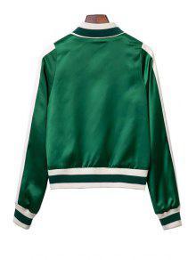 Embroidered Green Baseball Jacket GREEN: Jackets & Coats M | ZAFUL
