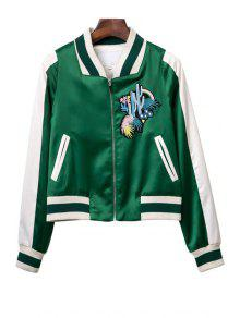 Embroidered Green Baseball Jacket - Green M