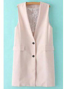 Solid Color Lace Spliced Collarless Waistcoat - Shallow Pink S