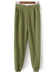 Solid Color Jogger Pants - Army Green L