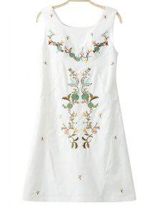 Buy Embroidery Round Collar Sleeveless Dress - WHITE L
