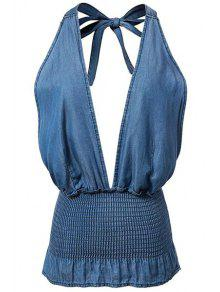 Buy Fitted Solid Color Halter Denim Tank Top - BLUE M