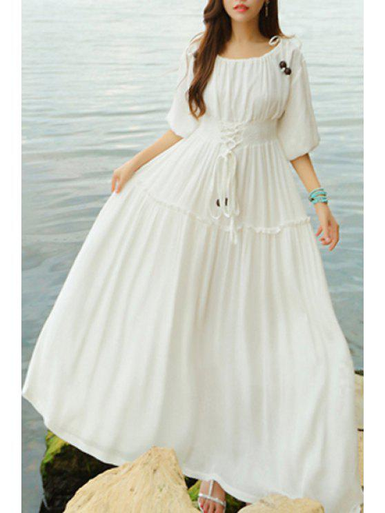 fancy Lace Up Scoop Neck Half Sleeve Maxi Dress - WHITE S