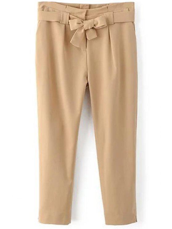 women Soild Color Belted High Waist Pant - KHAKI L