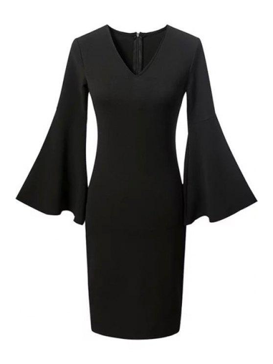 affordable Fitted Solid Color V Neck Flare Sleeve Dress - BLACK L