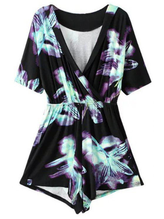 unique Ombre Printed Plunging Neck Short Sleeve Romper - BLACK L