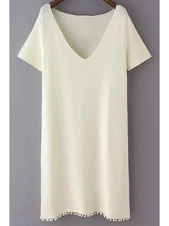 Robe crochet couleur pure col plongeant manches courtes - Blanc Cassé M