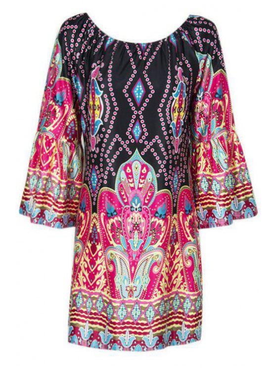 Flare Sleeve Printed Peasant Dress - Multicolore M