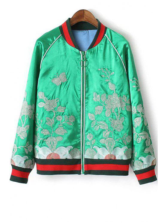 outfit Floral Embroidery Stand Neck Long Sleeve Jacket - GREEN M