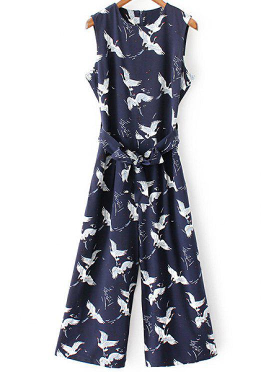 Impreso de cuello redondo sin mangas con cinturón Mono - Azul Purpúreo M